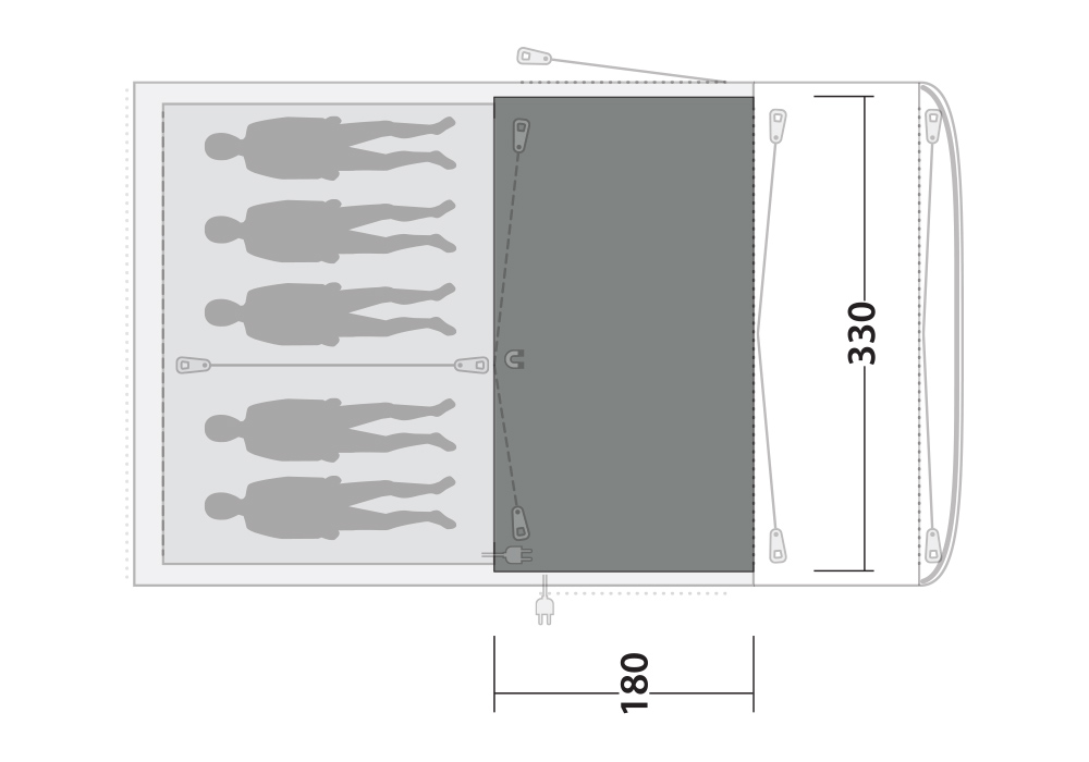 Размери на Килим Flat Woven Carpet за палатка Outwell Rockland 5P 2020