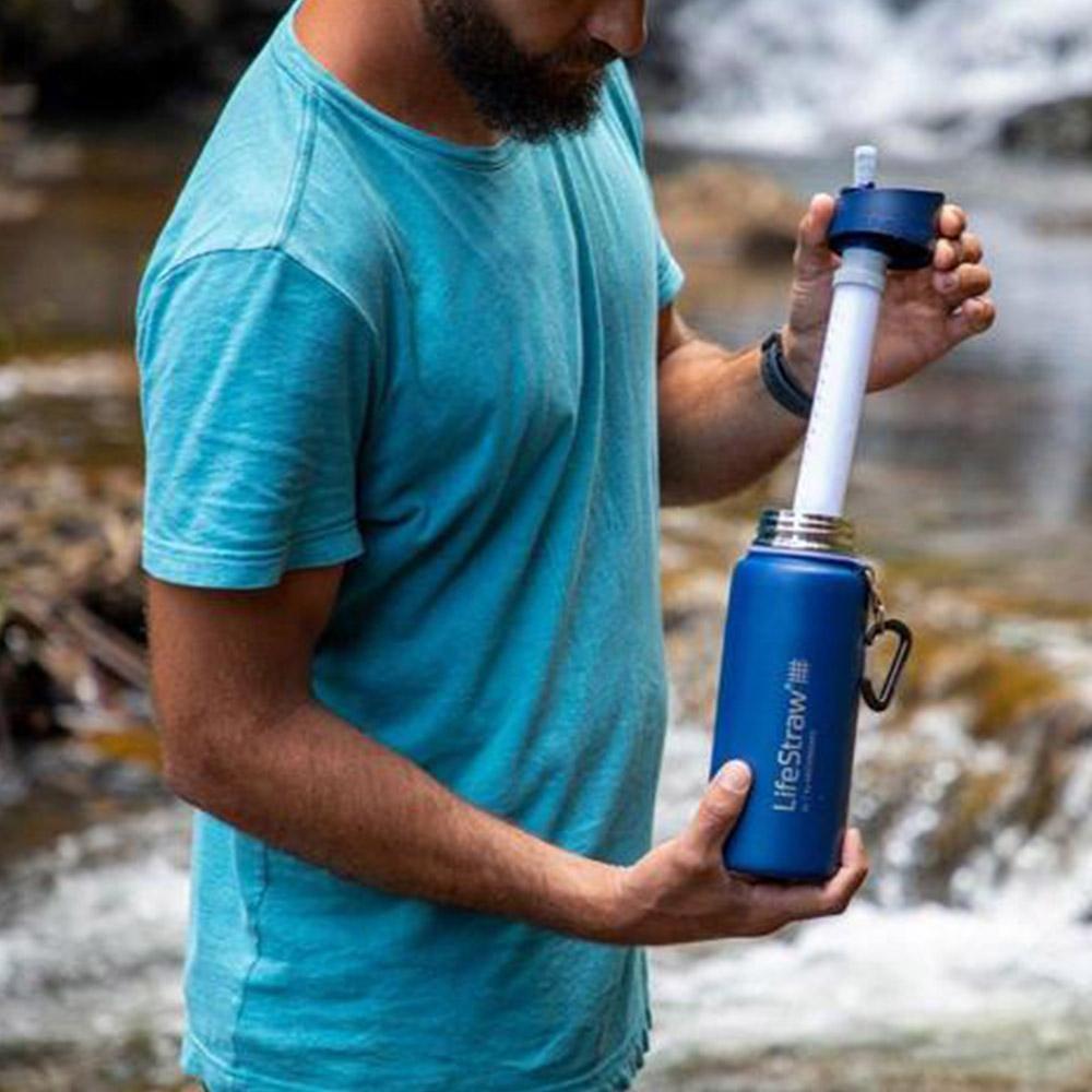 Филтър на бутилка за вода с филтър LifeStraw Go Stainless Steel 2-Stage Filtration Grey