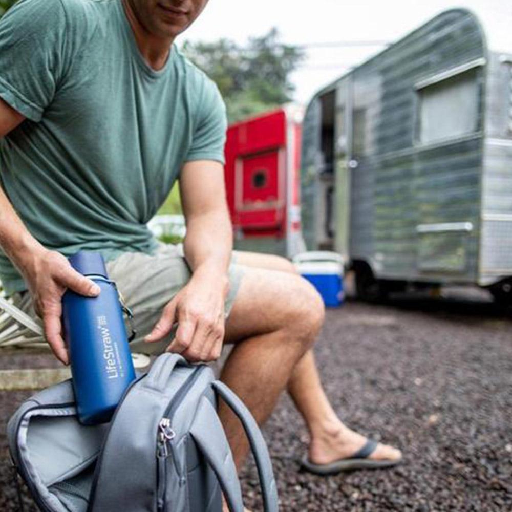 Пътуване с термо бутилка за вода с филтър LifeStraw Go Stainless Steel 2-Stage Filtration Grey