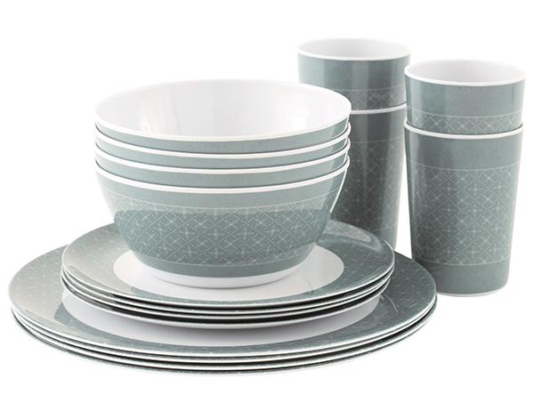 Комплект съдове за хранене за четири души Outwell Blossom Picnic Set 4 Persons Blue