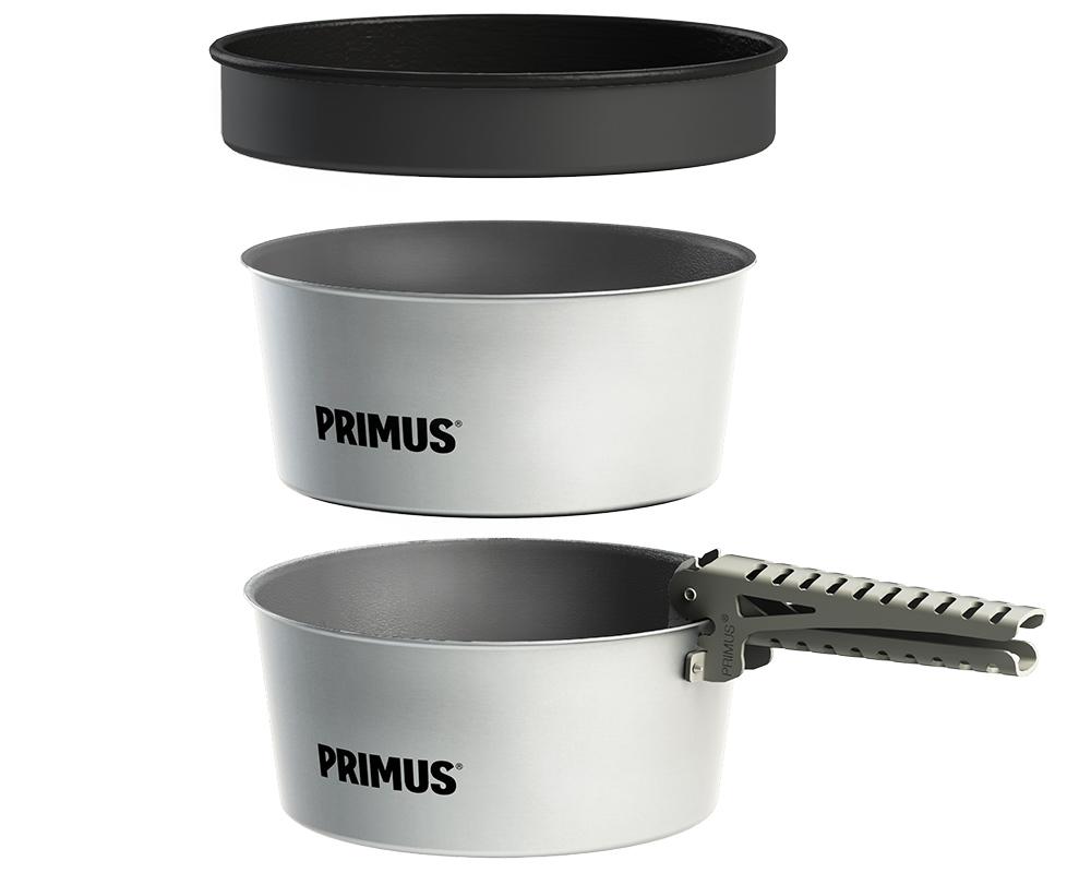 Комплект туристически съдове за готвене Primus Essential две тенджери, тиган, дръжка