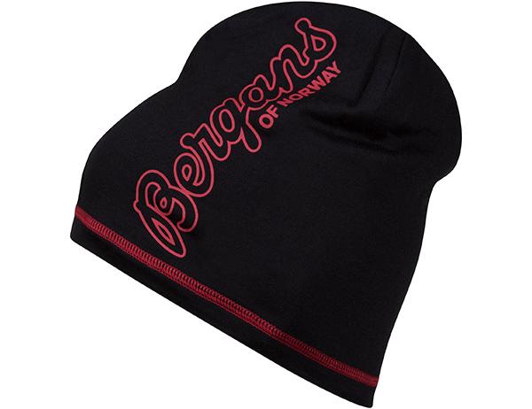 Шапка от мерино вълна Bergans Bloom Wool Beanie Black/Red