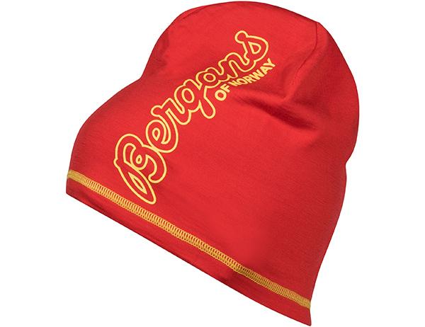 Шапка от мерино вълна Bergans Bloom Wool Beanie Fire Red/Waxed Yellow