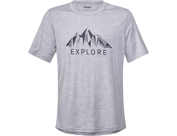 Мъжка тениска от мерино вълнa Bergans Explore Wool Grey Mel 2018