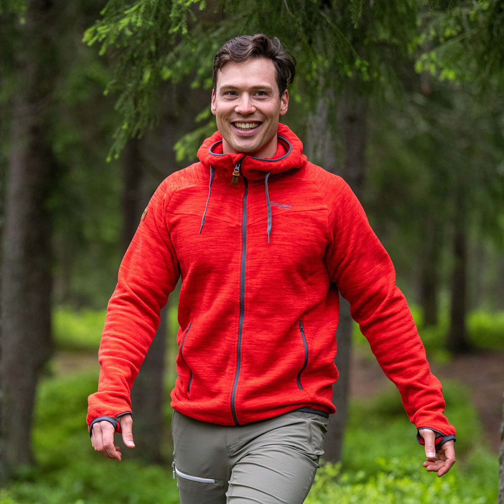 Трекинг с мъжко поларено яке Bergans Hareid Fleece Red Melange 2020