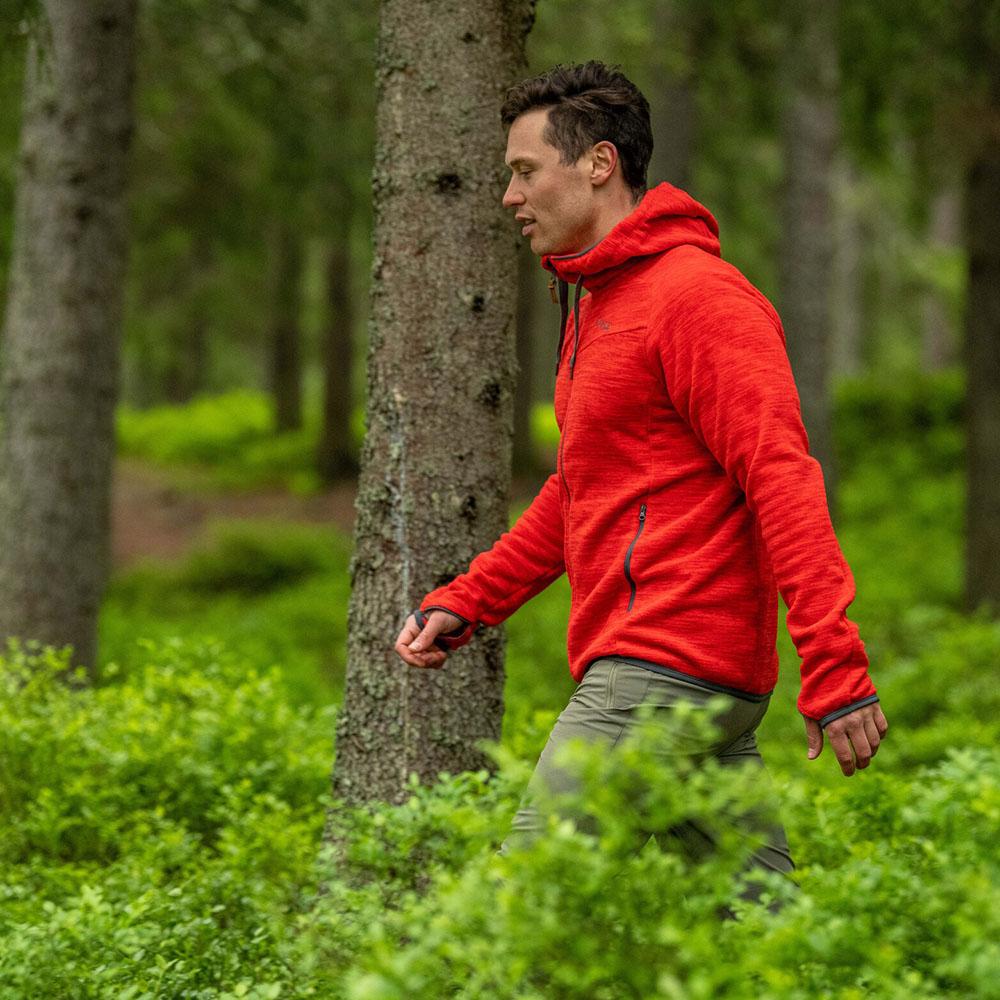 Профил на мъжко поларено яке Bergans Hareid Fleece Red Melange 2020