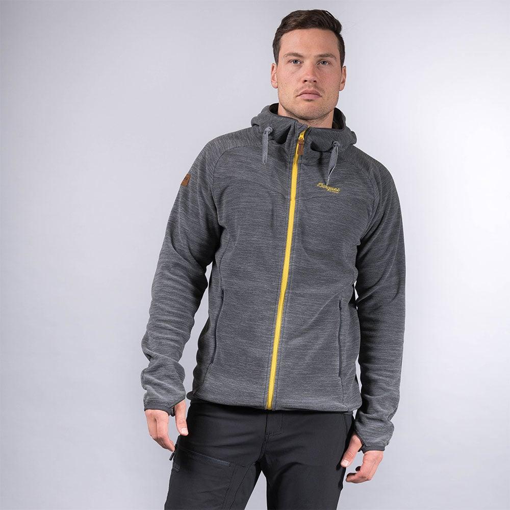 Лице на мъжко поларено яке Bergans Hareid Fleece Jkt Solid Charcoal /Waxed Yellow