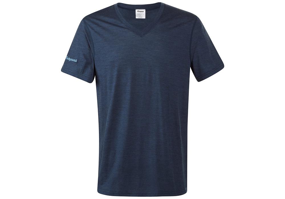 Мъжка тениска от мерино вълнa Bergans Bloom Wool Tee Navy Melаnge 2019