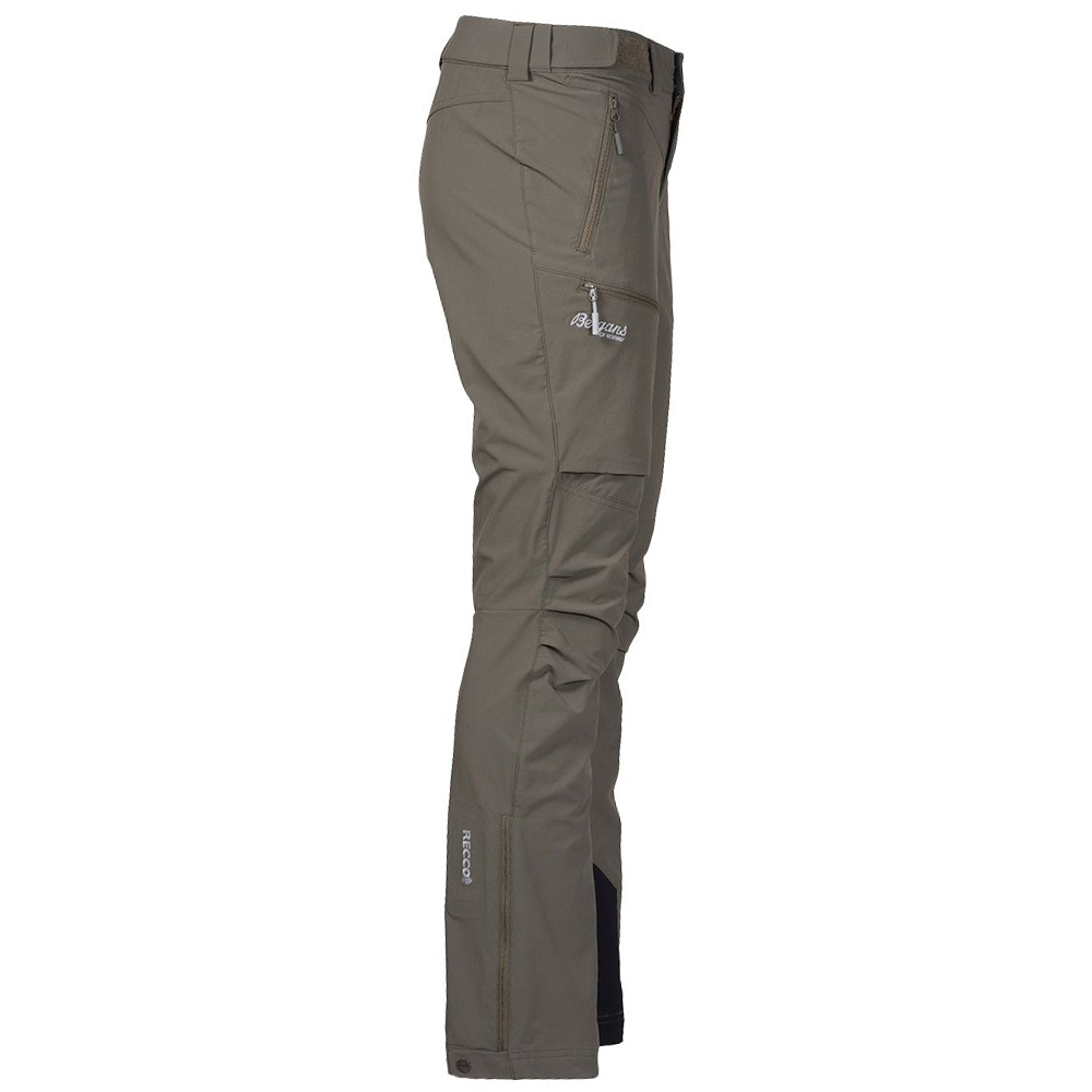 Профил на дамски туристически софтшел панталон Bergans Breheimen Softshell W Green Mud