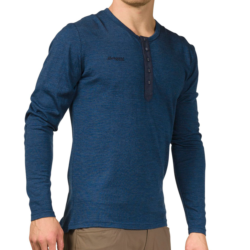 Мъжка блуза от мерино вълна Bergans Henley Wool Shirt Navy Mel