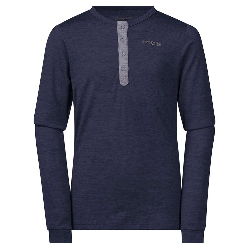 Детска блуза от мерино вълна Bergans Myske Wool Youth Shirt Navy Mel/Dk Grey