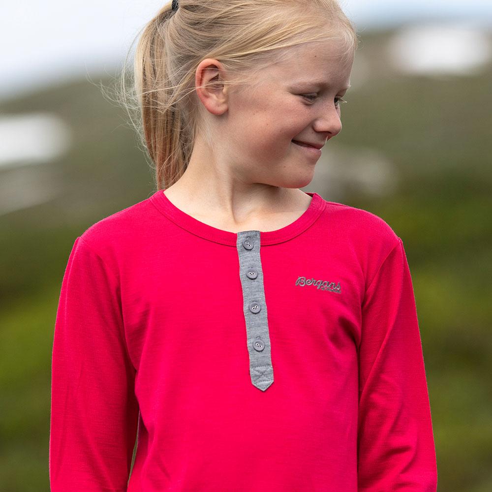 Детска блуза от мерино вълна Bergans Myske Wool Youth Shirt Dark Sorbet Melange