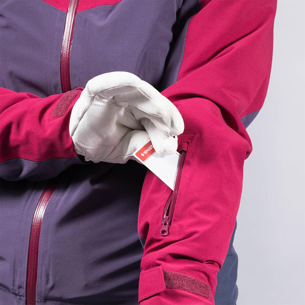 Отвор за ски карта дамско ски яке с изолация Bergans Oppdal Insulated Lady Jacket Beet Red/Purple Velvet