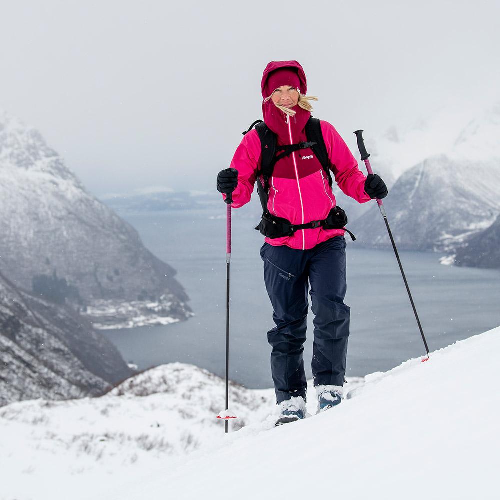 Ски туринг с дамско хардшел яке Bergans Slingsby 3L W Jkt Raspberry/Beet Red