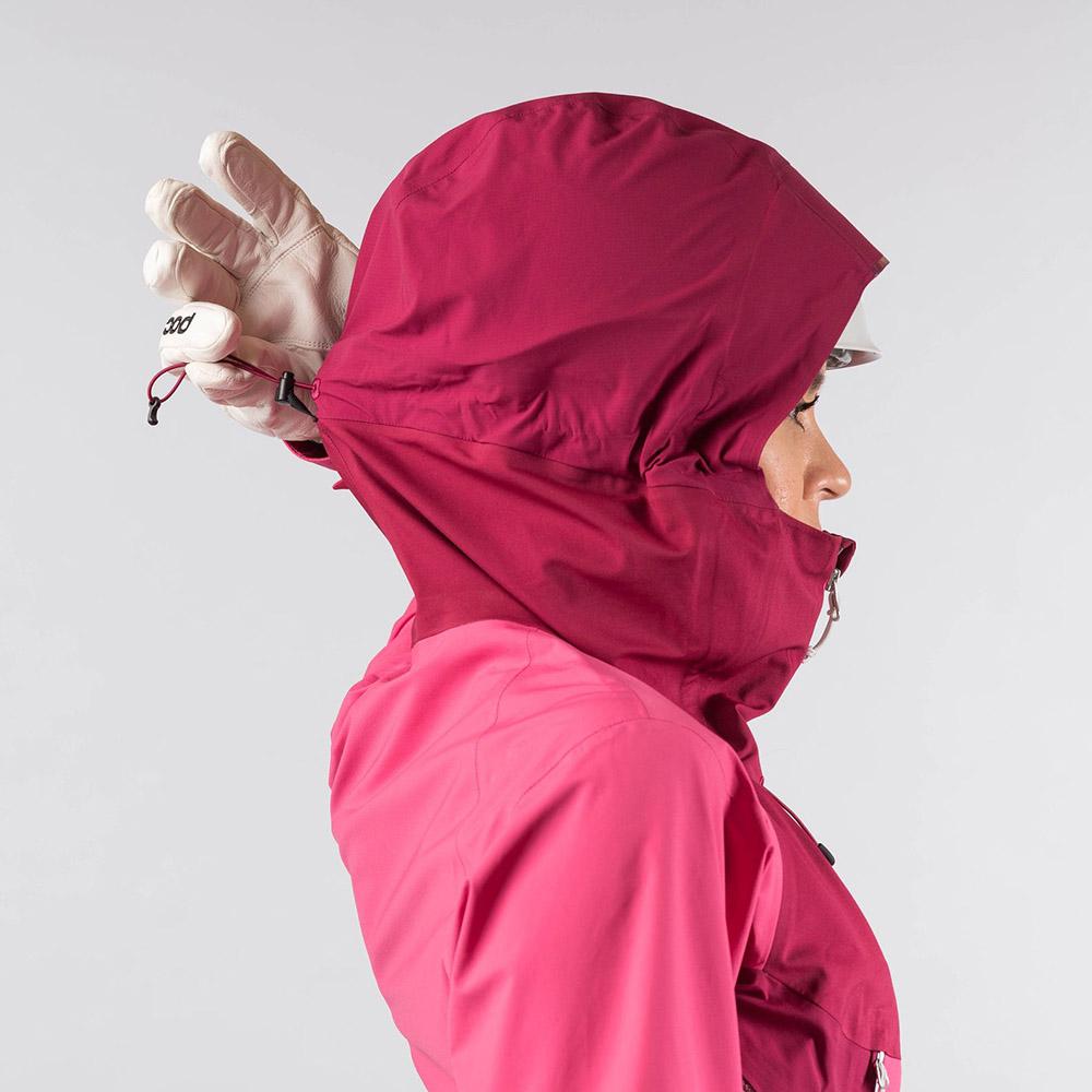 Пристягане на качулката дамско хардшел яке Bergans Slingsby 3L W Jkt Raspberry/Beet Red