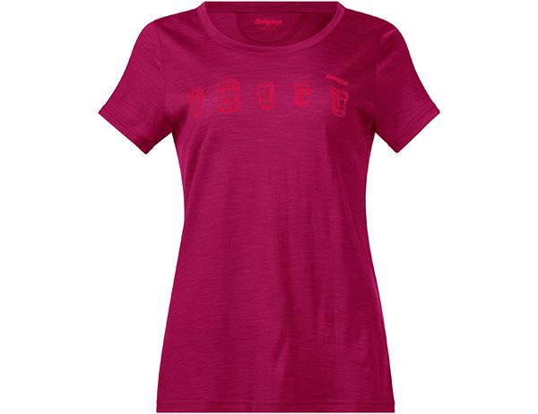 Дамска тениска от мерино вълнa Bergans Backpack Wool W Tee Bougainvillea 2020