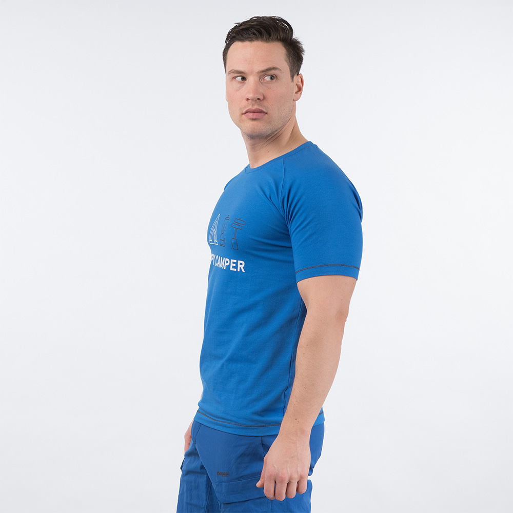 Профил на мъжка тениска Bergans Happy Camper Tee Athens Blue 2020