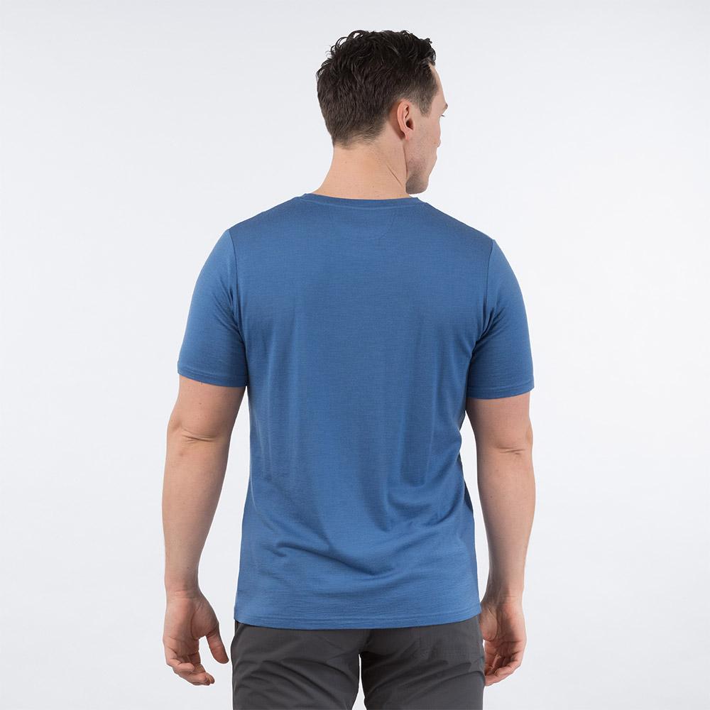 Гръб на мъжка тениска от мерино вълнa Bergans Backpack Wool Tee Riviera Blue 2020