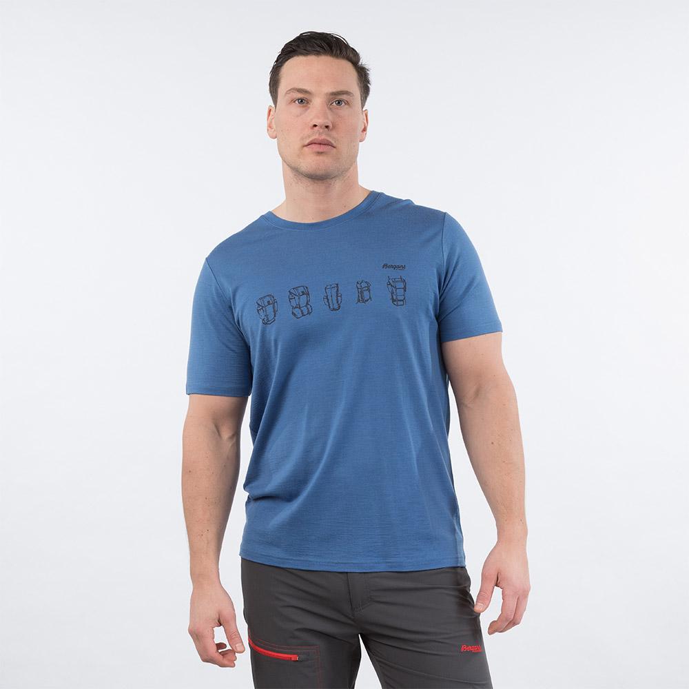 Лице на мъжка тениска от мерино вълнa Bergans Backpack Wool Tee Riviera Blue 2020