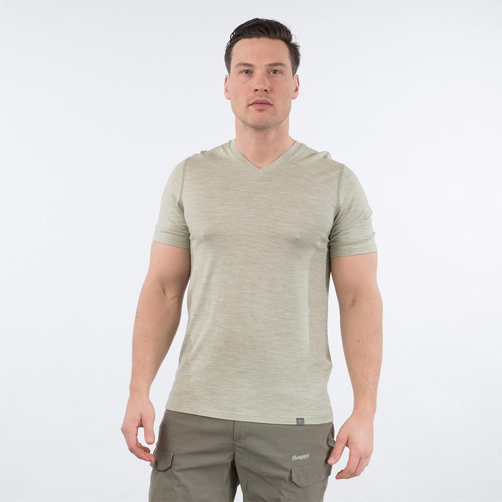 Мъжка тениска от мерино вълнa Bergans Bloom Wool Tee Light Green Mud 2020
