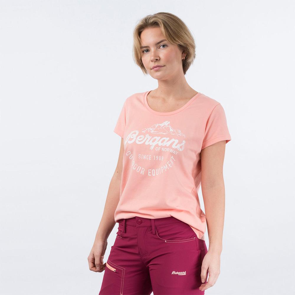 Лице на дамска тениска Bergans Classic W Tee Peach Pink