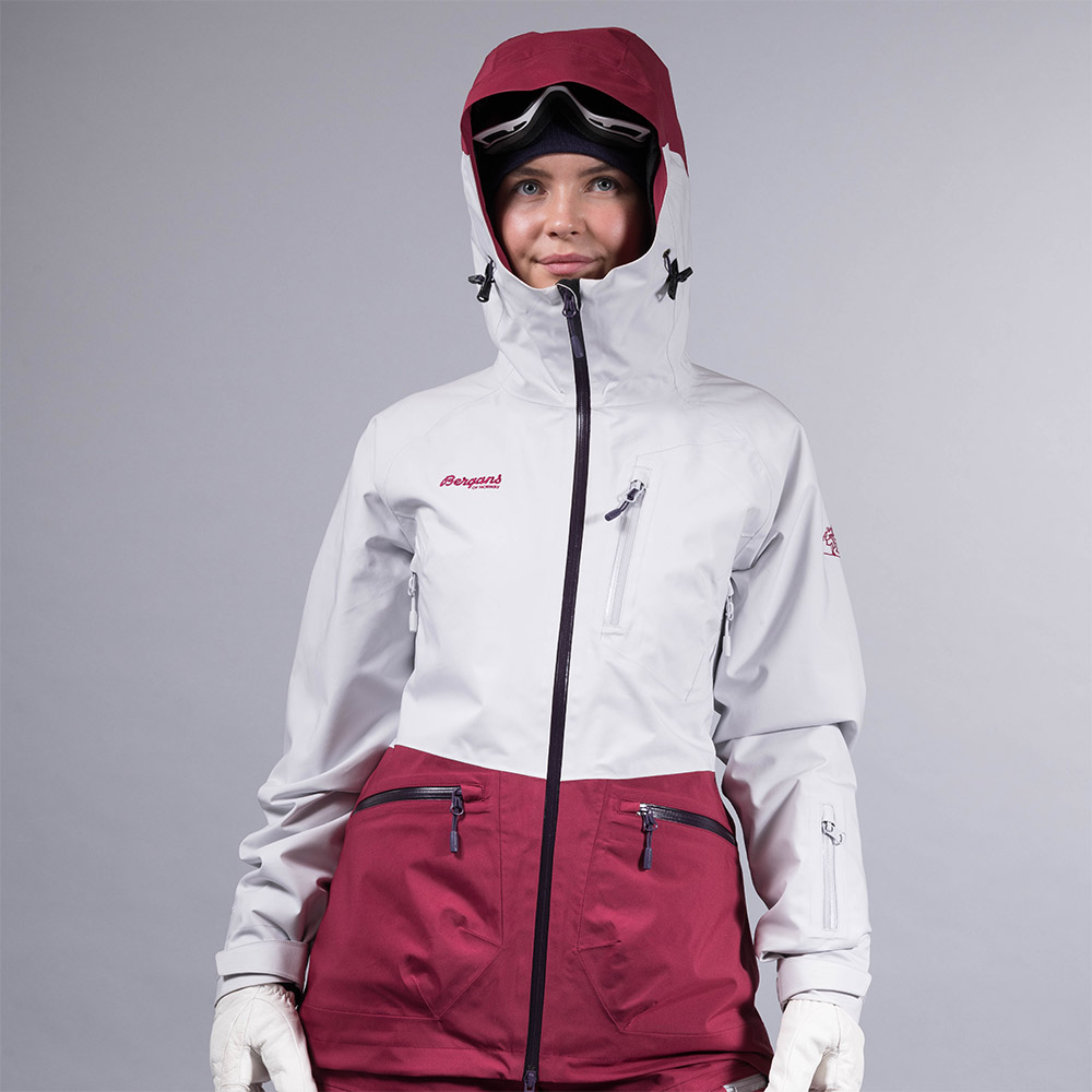 Дамско ски яке с изолация Bergans Myrkdalen Insulated Lady Jkt Silver/Beet Red
