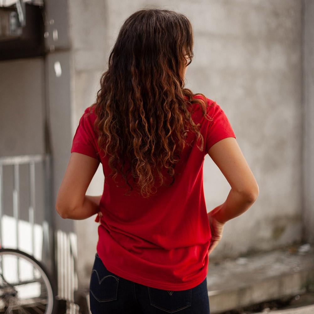 Гръб на тениска от мерино вълнa Bergans Oslo Wool W Tee Red 2020