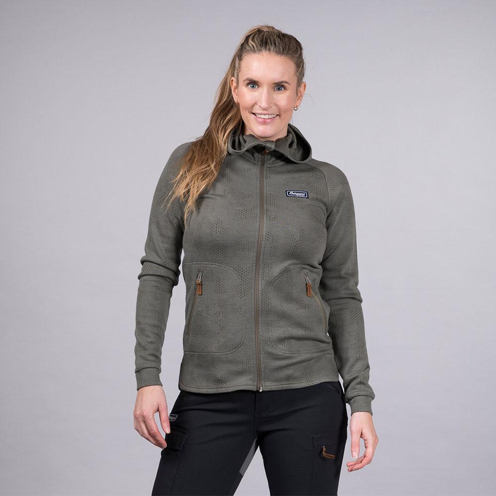 Лице на дамско яке от мерино вълна Bergans Tuva Light Wool Hood W Green Mud Camo 2020