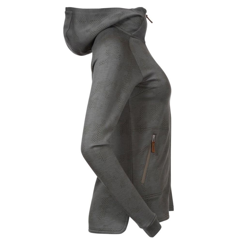Профил на дамско яке от мерино вълна Bergans Tuva Light Wool Hood W Green Mud Camo 2020
