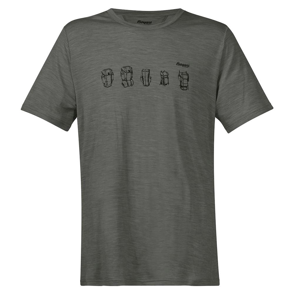 Мъжка тениска от мерино вълнa Bergans Backpack Wool Tee Green Mud 2021