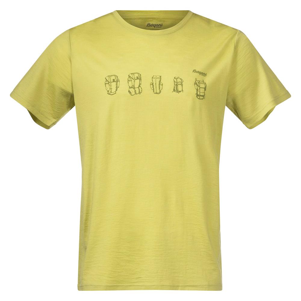 Мъжка тениска от мерино вълнa Bergans Backpack Wool Tee Green Oasis 2021