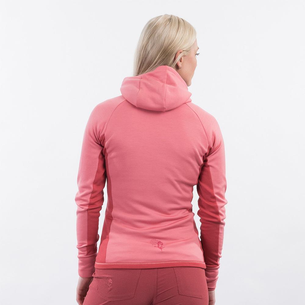 Гръб на дамско вълнено яке Bergans Cecilie Wool Hood Jacket Light Creamy Rouge 2021