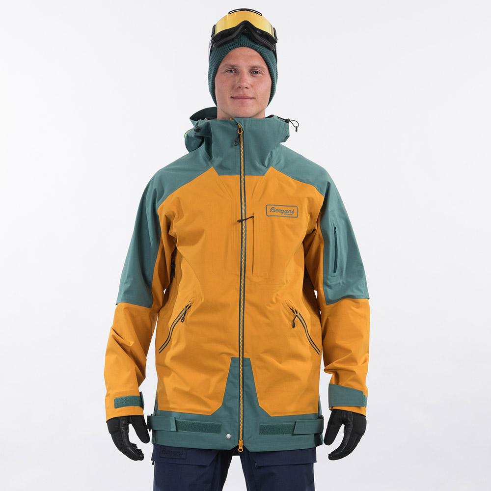 Лице на ски яке Bergans Myrkdalen V2 3L Jacket Inca Gold / Forest Frost 2021