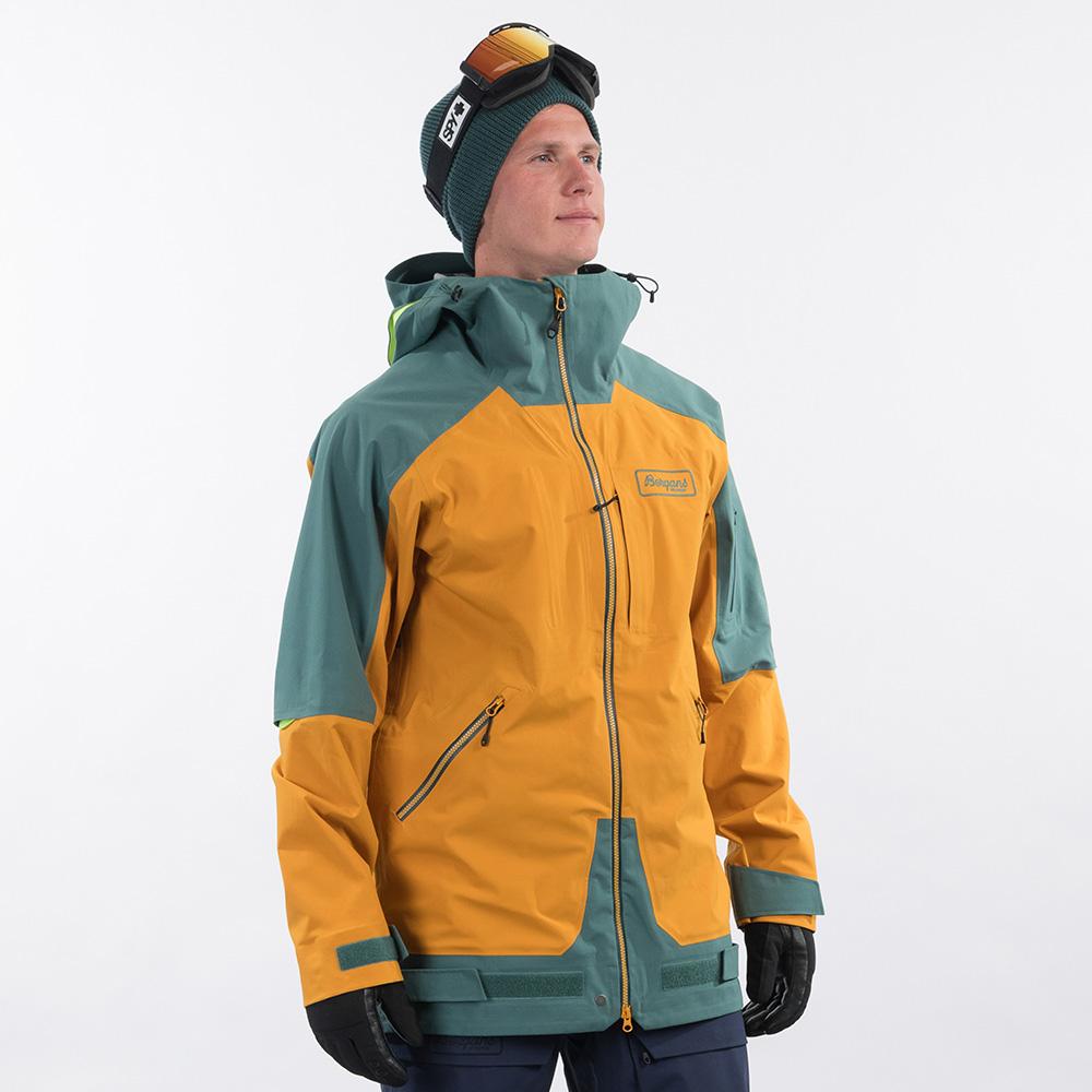 Профил на ски яке Bergans Myrkdalen V2 3L Jacket Inca Gold / Forest Frost 2021