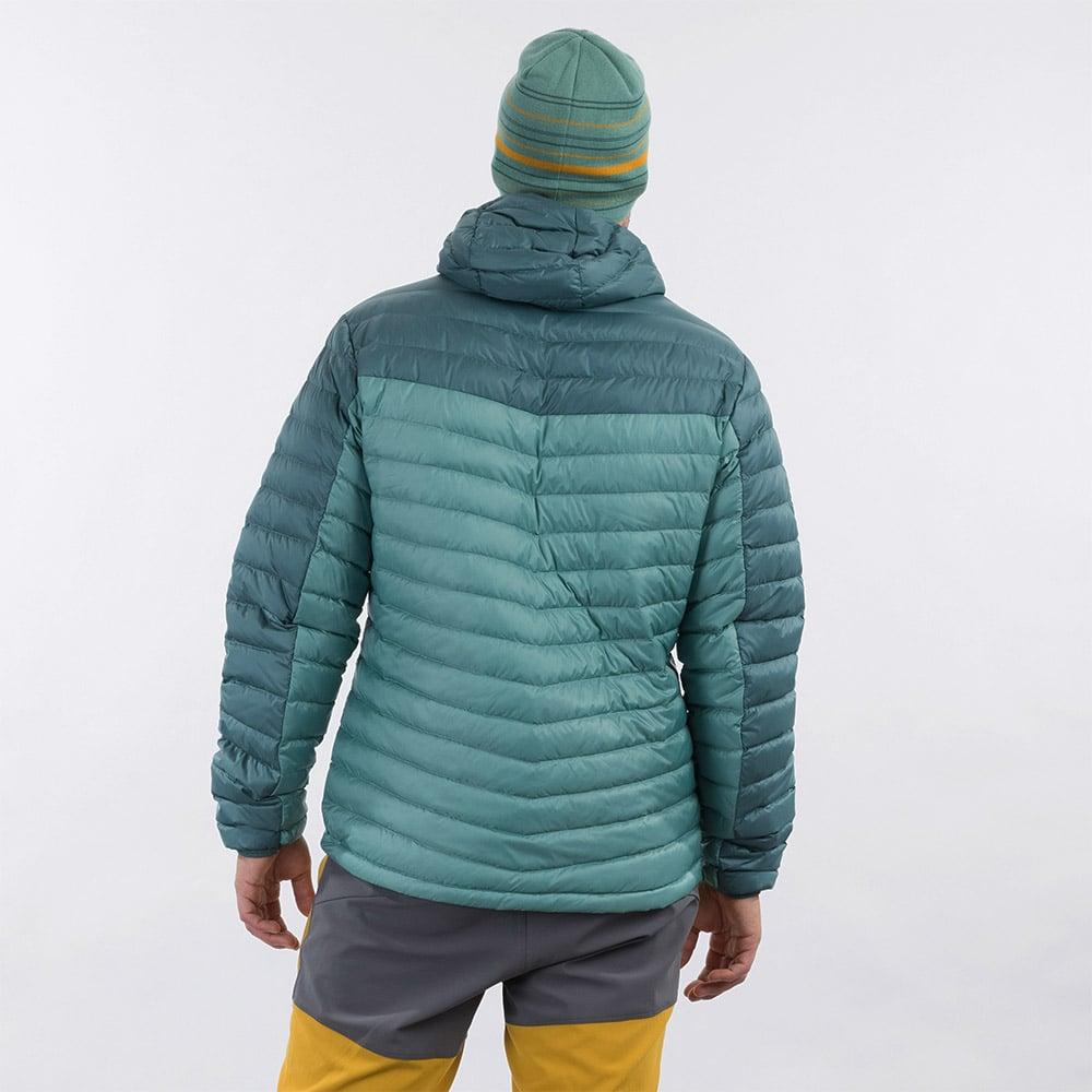 Гръб на мъжко пухено яке Bergans Røros Down Light Jacket w/Hood Light Forest Frost 2021