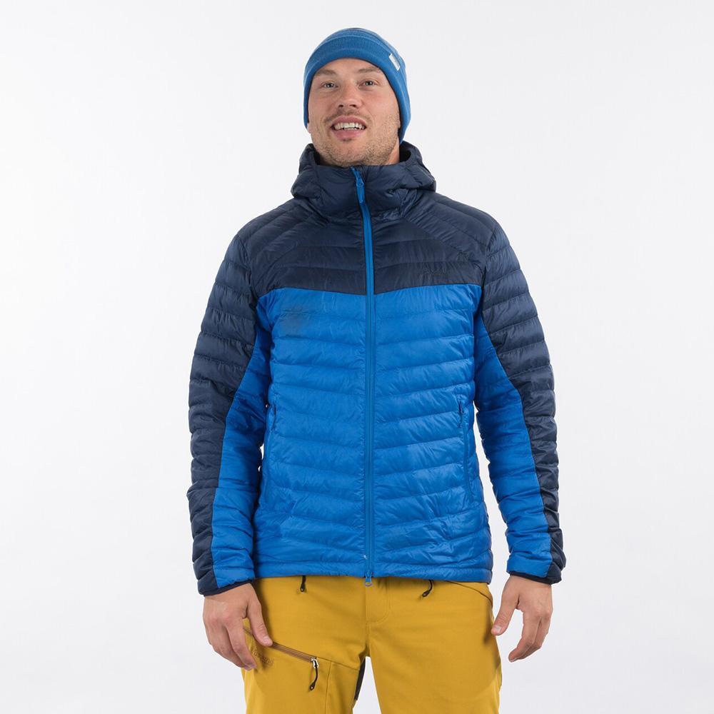 Лице на мъжко пухено яке Bergans Røros Down Light Jacket w/Hood Strong Blue 2021