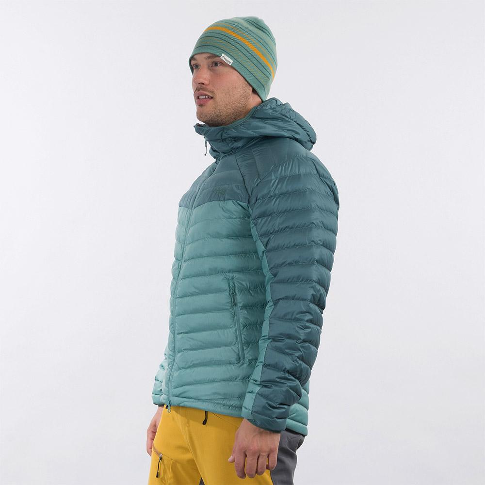 Профил на мъжко пухено яке Bergans Røros Down Light Jacket w/Hood Light Forest Frost 2021