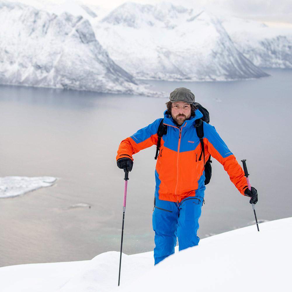 Ски туринг с мъжко хардшел яке Bergans Senja 3L Jacket Bright Magma / Strong Blue 2021