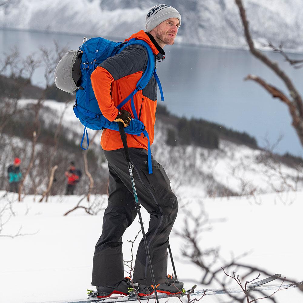 Ски туринг с Bergans Senja Midlayer Hood Jacket Bright Magma 2021