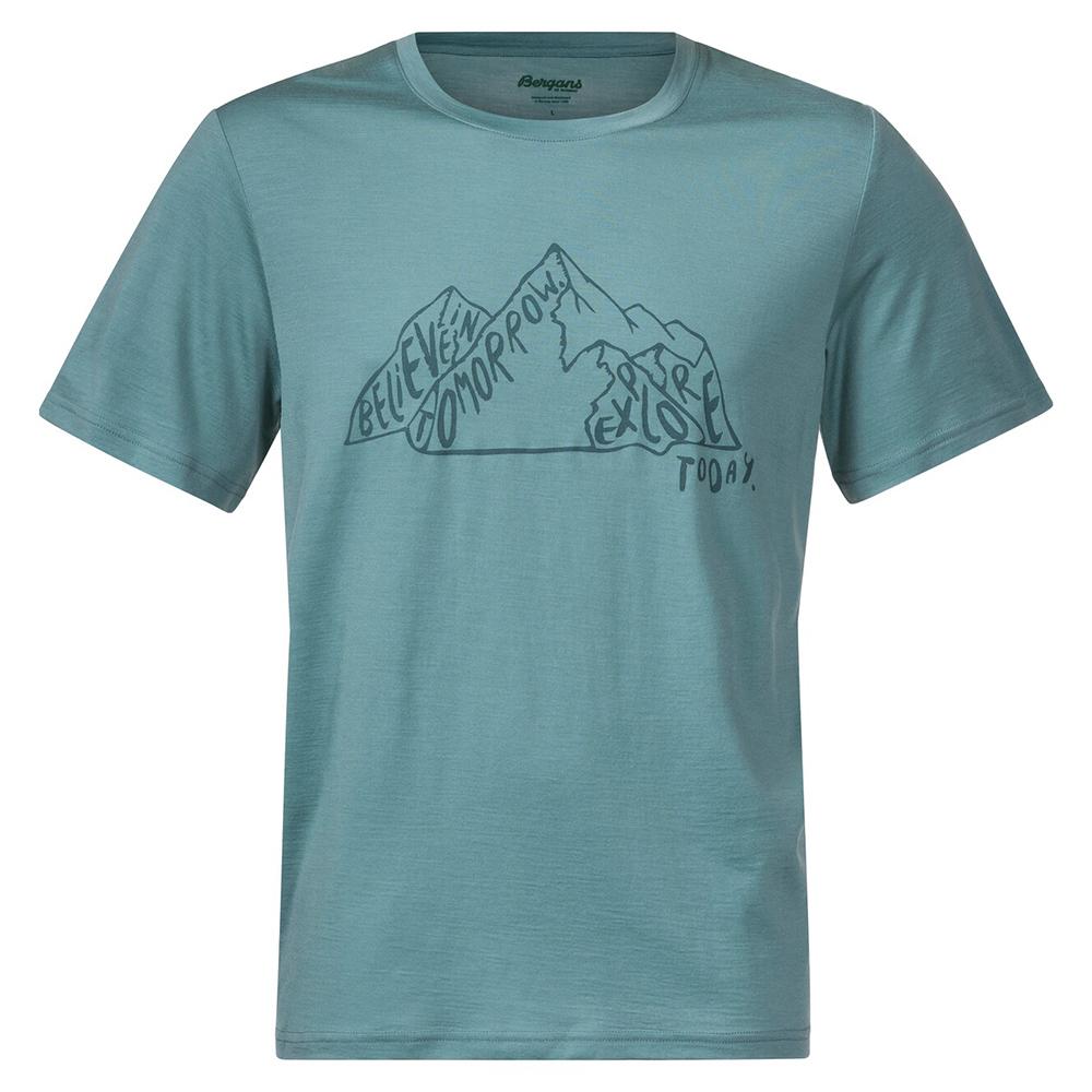 Мъжка тениска от мерино вълнa Bergans Graphic Wool Tee Light Forest Frost 2021