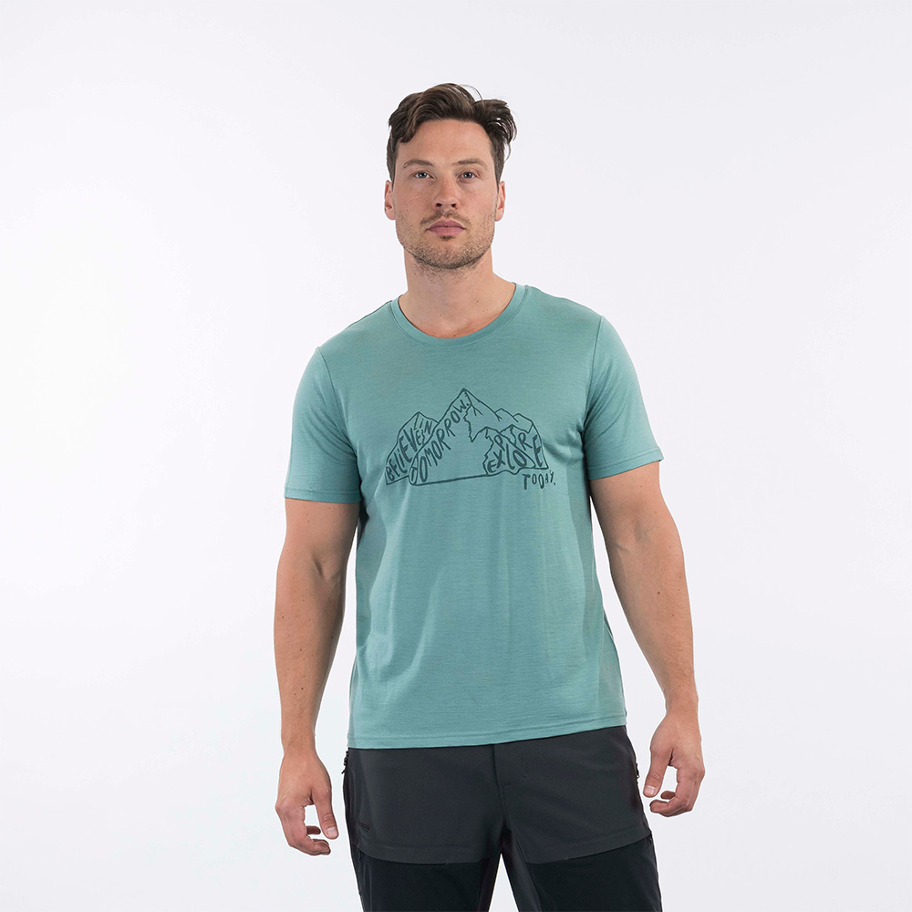 Front Bergans Graphic Wool Tee Light Forest Frost 2021