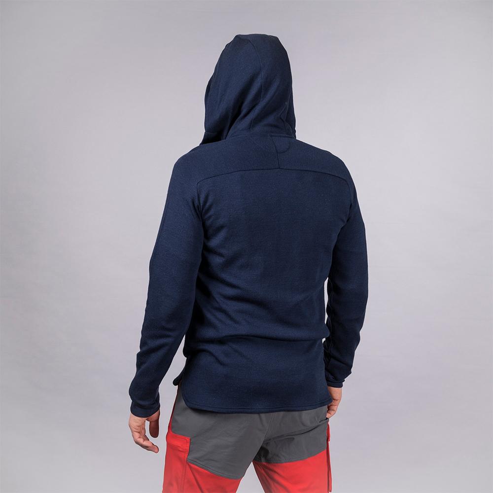 Гръб на мъжко яке от мерино вълна Bergans Tuva Light Wool Hood Navy 2021