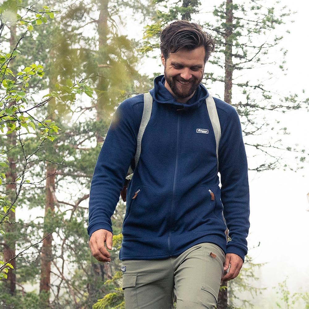 Хайкинг с мъжко яке от мерино вълна Bergans Tuva Light Wool Hood Navy 2021