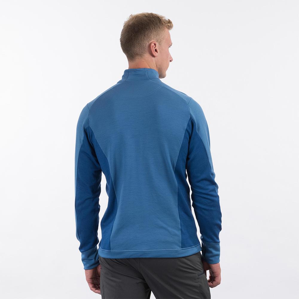 Гръб на мъжко вълнено яке Bergans Ulstein Wool Jacket Riviera Blue Melange 2021