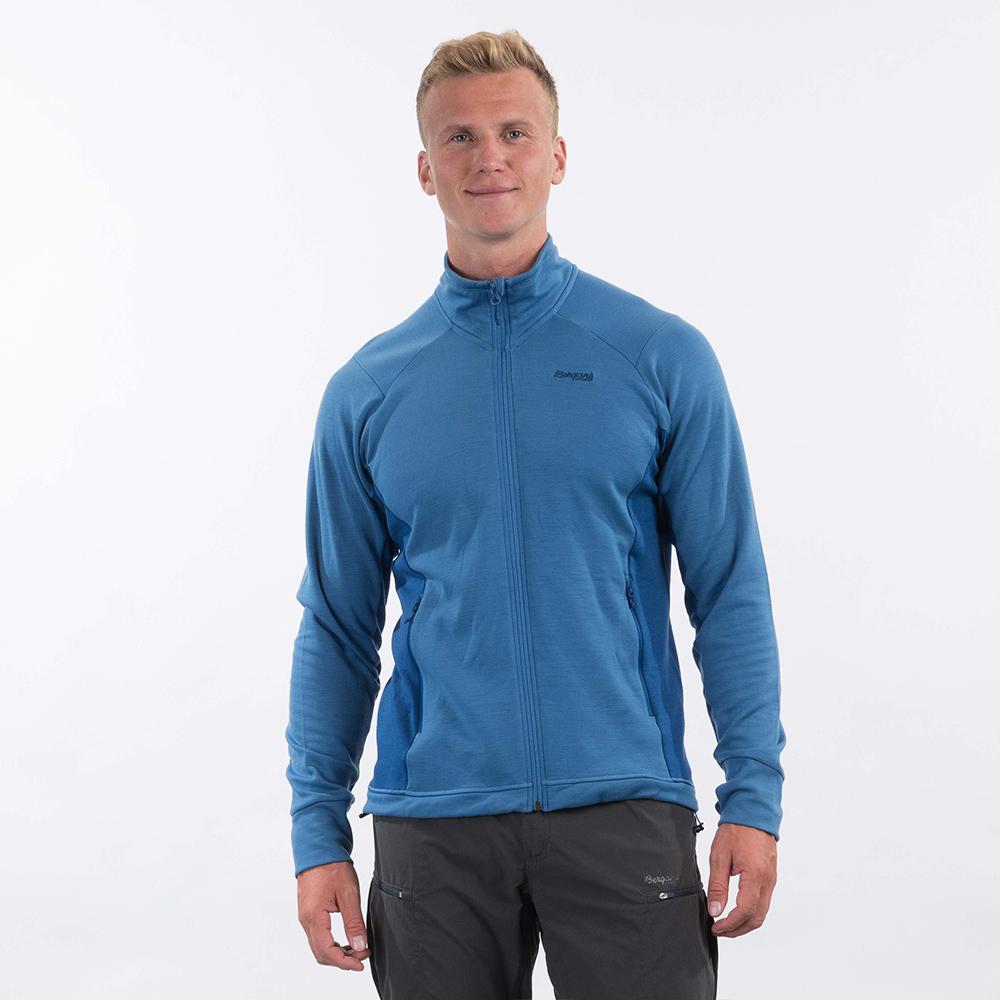Лице на мъжко вълнено яке Bergans Ulstein Wool Jacket Riviera Blue Melange 2021