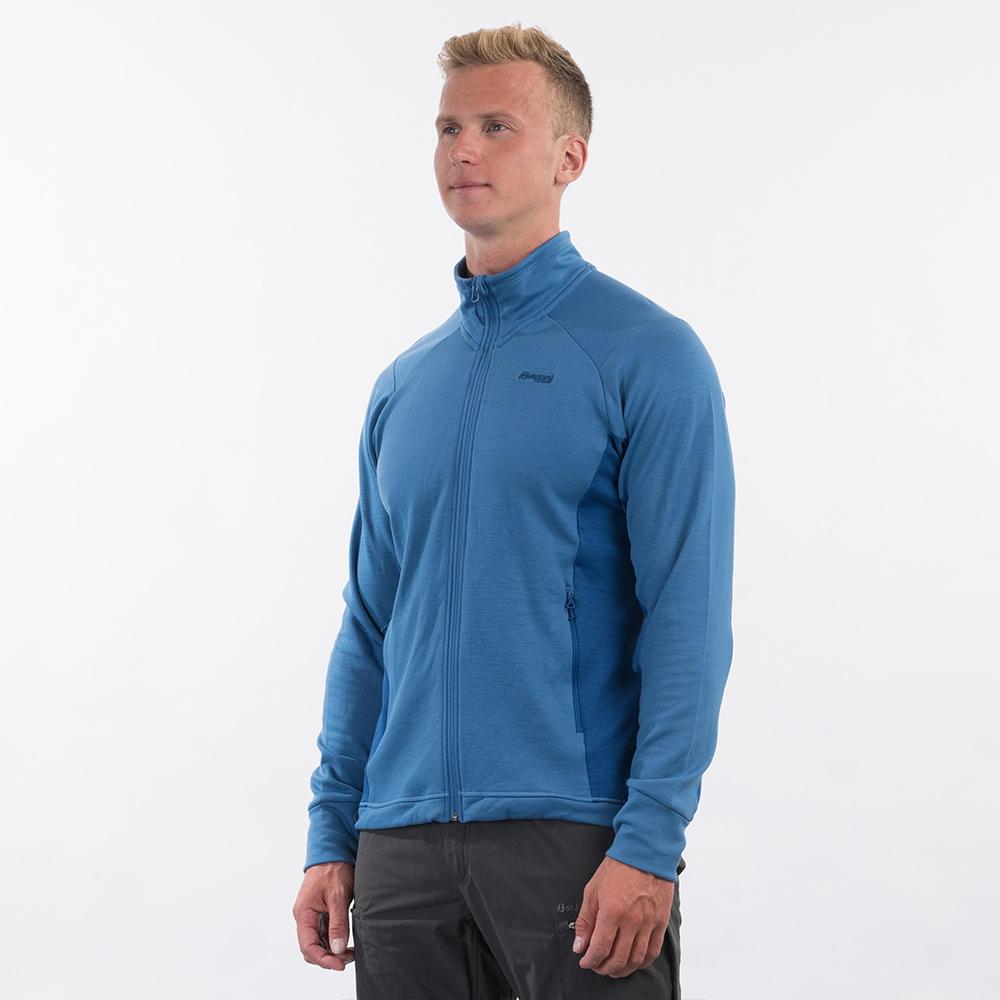 Профил на мъжко вълнено яке Bergans Ulstein Wool Jacket Riviera Blue Melange 2021