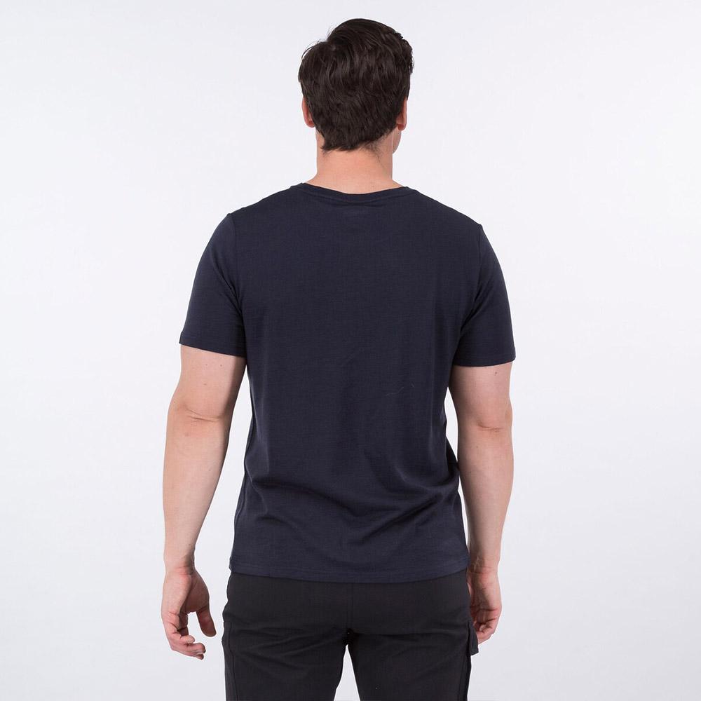 Гръб на мъжка тениска от мерино вълнa Bergans Graphic Wool Tee Dark Navy 2021