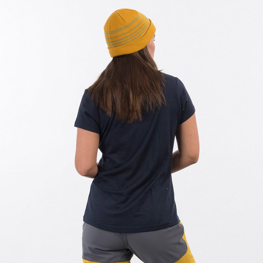 Гръб на дамска тениска от мерино вълнa Bergans Graphic Wool W Tee Dark Navy 2021