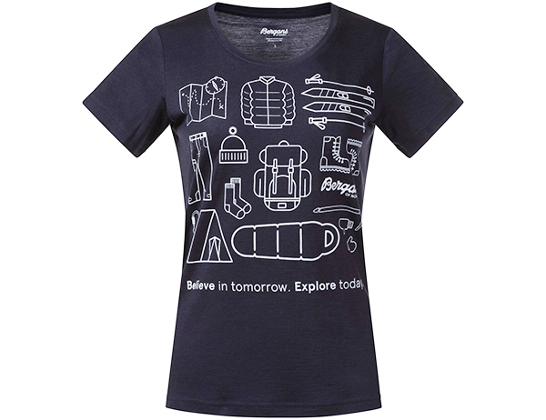 Дамска тениска от мерино вълнa Bergans Graphic Wool W Tee Dark Navy 2021