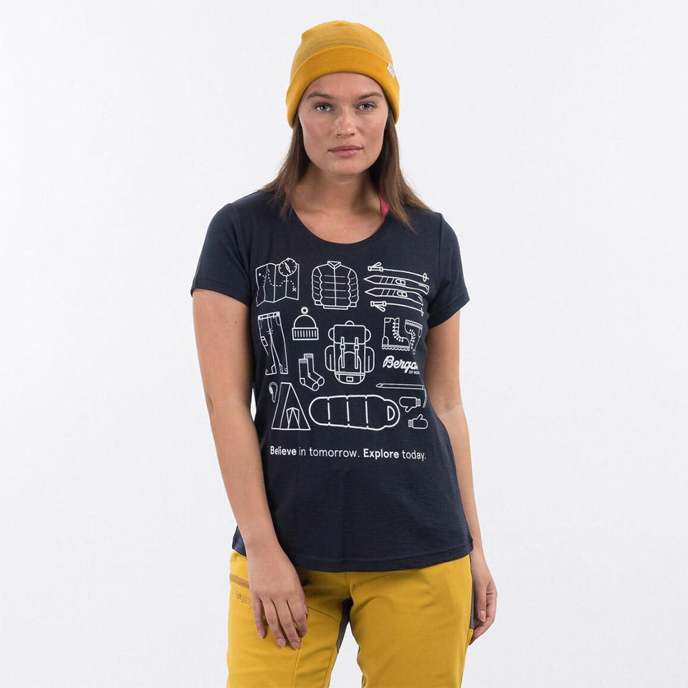 Лице на дамска тениска от мерино вълнa Bergans Graphic Wool W Tee Dark Navy 2021